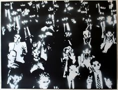Sérgio Costa (2010) 3D audience, spray on paper. re-work of 3D audience photograph (photographer unknow)