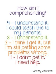 FREE Comprehension Rating Display~ To check how the class is doing, have students hold up a whiteboard slate so only the teacher can see it. Or, have students write their number at the top of classwork papers so you know who needs some additional support. Kids don't risk embarrassment and everyone gets the help they need!
