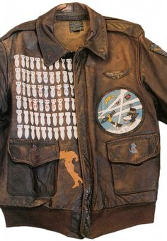 An A-2 jacket worn by an American air gunner in the 86th Bomb Squadron, 47th Bomb Group. The dog was the squadron mascot, and the outline of of Italy indicates were he served. From the collection of Jeff Spielberg.