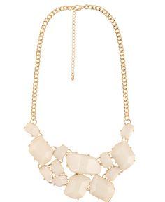 cream gold statement necklace