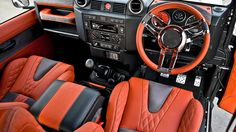 custom orange grey interior Land Rover Defender 90 Leather Interior including Front GTB Sports Seats Leather Interior by Chelsea Truck Company Land Rover Defender Pickup, Land Rover Defender Interior, Defender 90, Car Interior Upholstery, Automotive Upholstery, Lifted Chevy Trucks, Lifted Ford Trucks, Pickup Trucks, Reupholster Car Seats