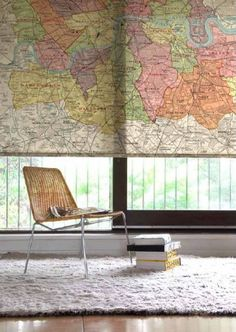 Surface View's Vintage Map Blind, cute idea to cover a window