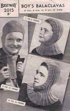 One of the bad points about growing up in the 1960's/1970's were the things our parents made us wear like hand knitted Balaclavas :-(