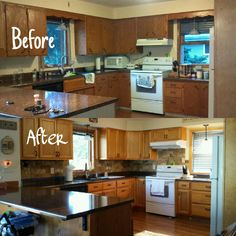 Kitchen before and after almost. Travertine wall tile.
