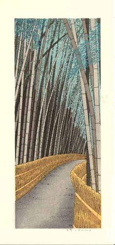 Bamboo path, Tenryuji, Kyoto. Woodblock print by 加藤晃秀 (Teruhide Kato). From set of prints at http://www.hanga.co.jp/shopbrand/002/003/X/