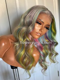 Wig Styles, Long Hair Styles, Colored Wigs, Middle Parts, Wigs For Black Women, Hairline, Blues, The Unit, Purple Yellow
