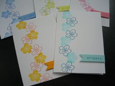 Arigato Thank You Cards Set of 5 Cherry Blossoms by apaperaffaire, $8.75