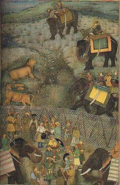 Full Size Picture Shah-Jahan hunting lions at Burhanpur (July Mughal Miniature Paintings, Mughal Paintings, Islamic Paintings, India Colors, Colours, Mughal Empire, Elephant Art, Fantastic Art, Indian Art