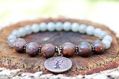 Grounding Mala Bracelet for Women - Labradorite, Leopardskin Jasper, Tree of Life Charm // Positivity Bracelet, Yoga, Buddhist Bracelet