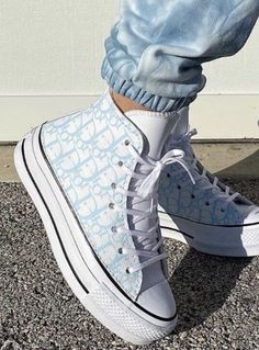 Shared by Find images and videos about dior, baby blue and blue aesthetic on We Heart It - the app to get lost in what you love. Cute Sneakers, Shoes Sneakers, Sneaker Heels, High Top Sneakers, Mode Converse, Converse High, Sneakers Fashion, Fashion Shoes, Basket Style