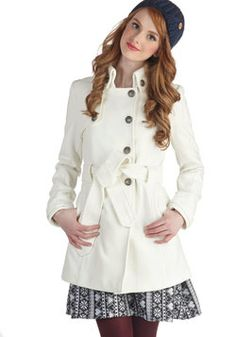 Out in the Open Air Coat in Ivory. Still torn about whether a white coat is a good idea.