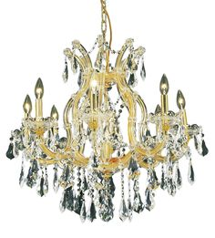 Elegant Lighting - 2801 Maria Theresa Collection Hanging Fixture D26in H26in Lt:8+1 Gold Finish (Royal Cut Crystal)