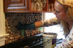 DIY Garden Stone Kitchen Backsplash.