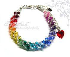 Swarovski bracelet Spectrum rainbow twisty Swarovski by candybead, $16.50