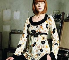 Anthropologie 2008 Petal Sketch Tunic Top Blouse RicRac Ric Rac 8 10 M