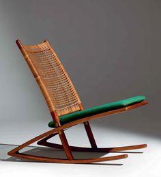 Fredrik A. Kayser; #599 Teak, Cane and Brass Rocking Chair for Vatne Lenestolfabrikk, 1958.