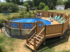 Above Ground Pool Landscaping, Above Ground Pool Decks, Backyard Pool Landscaping, Small Backyard Pools, In Ground Pools, Outdoor Pool, Outdoor Decor, My Pool, Swimming Pools Backyard