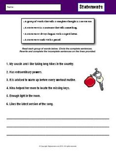 Worksheet | Statements | Circle the complete sentences. Rewrite and complete the…