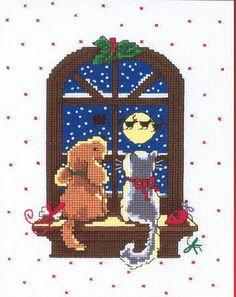 Punto de Cruz GRATIS: Mascotas mirando por la ventana en Navidad