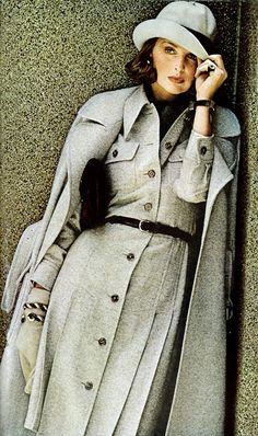 Samantha Jones by Bob Stone Vogue 1972 vintage fashion style subtle casual day dress work office cream white wool winter jacket coat hat safari classic 70s designer model magazine