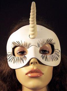 Unicorn leather mask in white