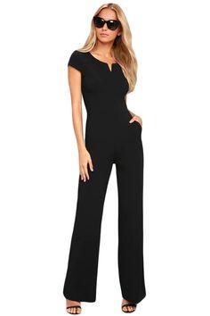 1c1d0711d381 Black Daily Fashion Wide Leg Jumpsuit