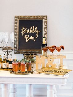 Bubbly Bar - bridal shower or bachelorette party idea {Courtesy of Bubbly Bar, Champagne Bar, Bridal Shower Decorations, Wedding Decorations, Rosa Pink, Nye Party, Cocktail Party Decor, Brunch Party, Shower Inspiration