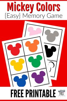 This free printable Mickey colors memory game includes Mickey heads in 12 different colors, with two different size pieces to choose from. Disney Activities, Disney Games, Preschool Learning Activities, Free Preschool, Color Activities, Toddler Learning, Preschool Activities, Color Games For Toddlers, Memory Games For Kids