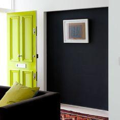 design is mine : isn't it lovely?: love love love the color swap interior inspiration : painted interior doors. Painted Interior Doors, Painted Front Doors, Interior Paint, Door Design, House Design, Green Front Doors, Halls, Dark Walls, Blue Walls