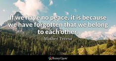 If we have no peace, it is because we have forgotten that we belong to each other. - Mother Teresa #brainyquote #QOTD #peace #life Sand Quotes, Rock Quotes, Life Quotes Love, Nature Quotes, Peace Quotes, Brainy Quotes, Motivational Quotes, Inspirational Quotes, Positive Quotes