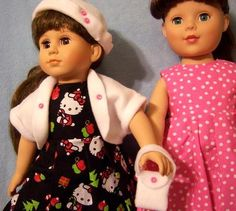 """NEW LOT Doll Clothes Dresses 4 18"""" Battat Gotz Tolly Tot American Girl Madame Alexander Our Generation         BEAUTIFUL Hello Kitty Christmas design dress with matching fleece jacket, hat and purse!  Also very cute pink with white polka dots dress that matches the same jacket, hat and purse.    $36.95 SOLD"""