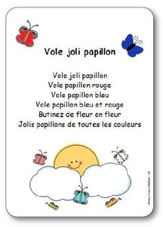French Teaching Resources, Teaching French, Butterfly Poems, French Poems, French Nursery, Daycare Themes, French Worksheets, French Colors, Core French