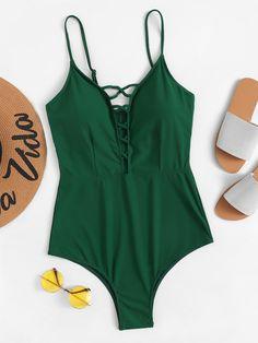 a875783a6fc Plus Palm Print Bardot One Piece Swimsuit -SHEIN(SHEINSIDE)