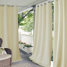 Elrene Home Fashions Indoor/Outdoor Patio Gazebo Pergola Solid Grommet Top Single Panel Window Curtain Drape, 52 Inch Wide x 84 Inch Long, Taupe Panel) Porch Curtains, Grommet Curtains, Country Curtains, Blackout Curtains, Transitional Window Treatments, Indoor Outdoor, Outdoor Living, Outdoor Rooms, Outdoor Curtains For Patio
