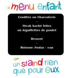 Menu Enfant soirée Musicale Lions Club St Augustin