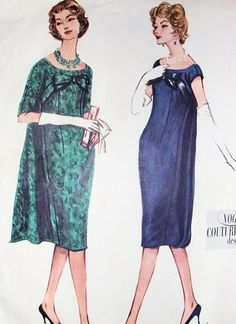 1950s CLASSY COCKTAIL EVENING DRESS PATTERN ELEGANT SLIM FITTED FRONT, WATTEAU PANEL AT BACK FLOATING or BOTTOM ATTACHED, PURE CLASS VOGUE COUTURIER DESIGN 136