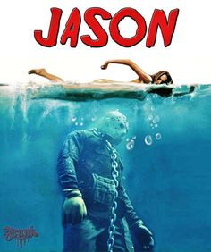 Friday the 13th - Jason movie rel, cool funny art find. classic Jaws poster rel