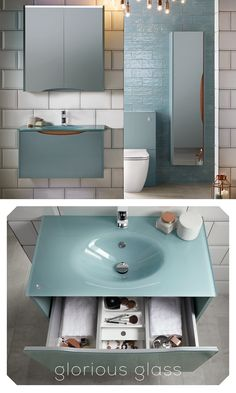 Bring some glam to your bathroom with a coloured glass washbasin paired with sea green furniture. Green Furniture, Coloured Glass, Bathroom Furniture, Luster, Home Deco, Wall Mount, Bathtub, Sea, Green Shed Furniture