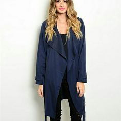 Woven Navy Jacket This navy woven jackey will be a perfect addition to your wardrobe for this Winter. This jacket has an open waterfall front and removeable self-tie sash. Will be available in Small. Please dont purchase listing. Comment and i will make you one :) discount when bundled! WFS Jackets & Coats