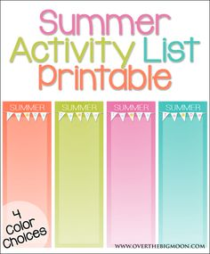 Summer Activity List