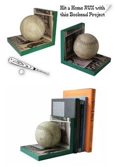 Looking for an original idea for the sports fan in your life? Make bookends! These baseball bookends use scrap wood and Mod Podge to personalize. Dollar Store Crafts, Dollar Stores, Diy Crafts For Kids, Fun Crafts, Craft Ideas, Decor Ideas, Sport Craft, Kids Wood, Wood Plans