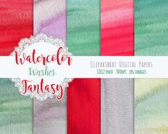 WATERCOLOR Digital Paper Commercial Use Background by ClipArtBrat