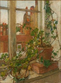 """ William Coldstream (English, Window in Hampstead, Oil on canvas "" Window View, Window Art, Art Brut, Through The Window, Your Paintings, Les Oeuvres, Painting & Drawing, Still Life, Oil On Canvas"