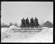 vintage photo, horses jumping - drill team in Burlington VT, c.1917-34 by Leslie Jones (1886-1967)