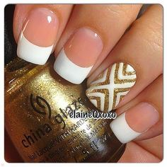 White nails with tribal accent nail