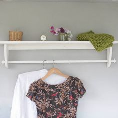 vintage styled wooden clothes rail with top shelf by seagirl and magpie | notonthehighstreet.com