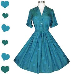 Vintage 50s Dress // Blue Green Polka Dot Short Sleeve