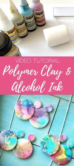 Diy Earrings Polymer Clay, Easy Polymer Clay, Polymer Clay Projects, Polymer Clay Creations, Polymer Clay Tutorials, Baking Polymer Clay, Polymer Clay Tools, Polymer Beads, Alcohol Ink Jewelry