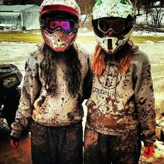 Muddin on four wheelers. thats what we dooooo Ha thats me and Barb on a good day...seems we can never stay clean.