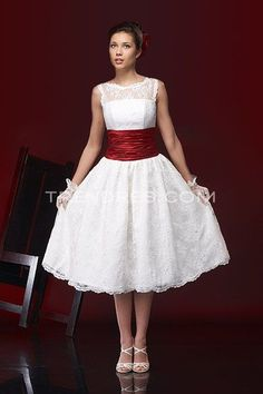 Tea-length Wedding Gowns with Lace and Sash, New Arrivals Wedding Dresses - Trendress.com